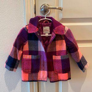 Cat & Jack pink & purple plaid jacket 18m